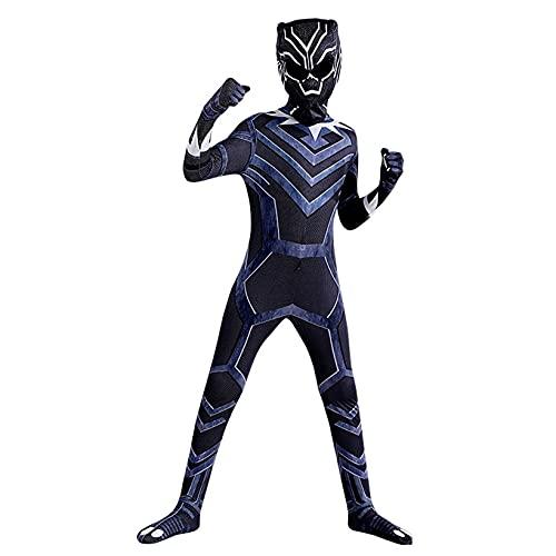 Spiderman Symbiote BodySuit Super Hero Fancy Dress Disfraz Hombre Halloween Cosplay Jumpsuit Masquerade Outfit Regalo de cumpleaos para nios y fanticos de la pelcula,Black Panther~B-130(120~130cm)