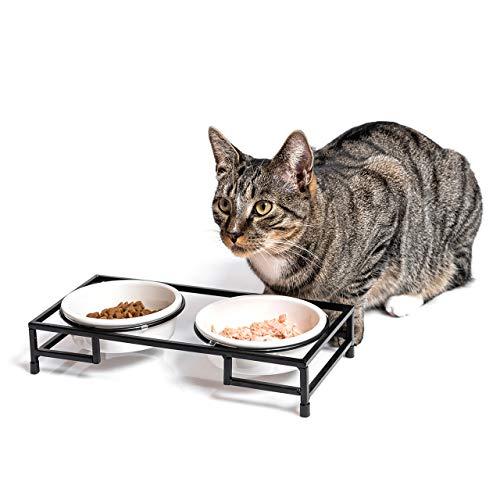 CanadianCat Company ® | Futterbar für Katzen mit Zwei Schalen aus Keramik - Fressnapf, Futternapf, Futterschale