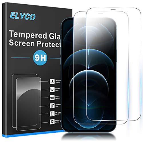 ELYCO Protector de Pantalla para iPhone 12 Pro MAX 6.7', [2 Piezas] [Alta Definicion] 9H Dureza Anti-Rasguños/Anti-Aceite Sin Burbujas Cristal Templado Vidrio Templado para iPhone 12 Pro MAX 6.7'