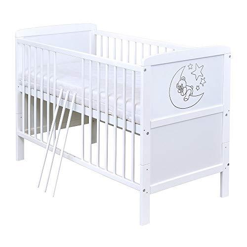 Baby Delux Babybett Kinderbett Juniorbett Teddy Mond Motiv 140x70 Weiß umbaubar mit Matratze
