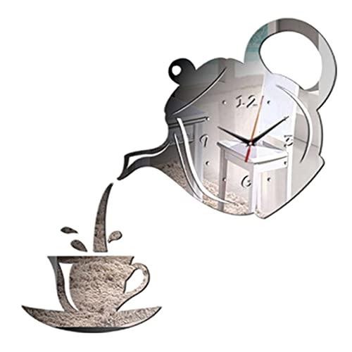 YUTRD ZCJUX Tazza da caffè Teiera Orologio da Parete Fai da Te Orologi da Parete 3D Specchio da Cucina Adesivo Decorativo Soggiorno Decorazioni per la casa Orologio (Color : Silver)
