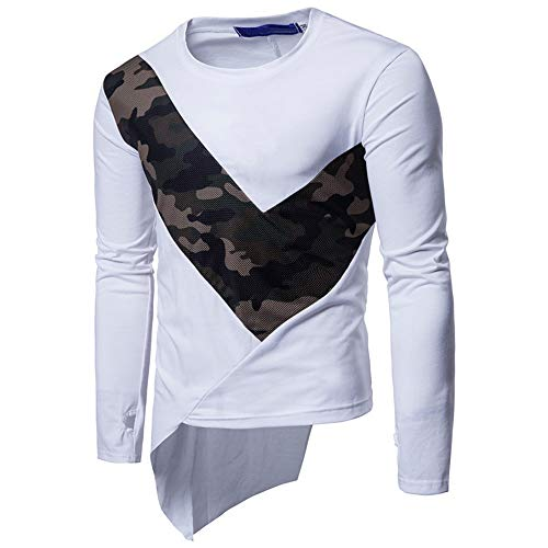 T-Shirt Men Casual Fashion Camouflage Patchwork Round Neck Long Sleeve T-Shirt Spring New Trend Irregular Hem Patchwork Slim Men Sweatshirt M