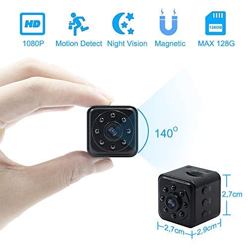 Mini Kamera 1080P HD Tragbare Kleine Überwachungskamera Magnet Videokamera TANGMI Mikro Nanny Cam mit Bewegungserkennung und Infrarot Nachtsicht (Unterstützt 128G SD Karten)