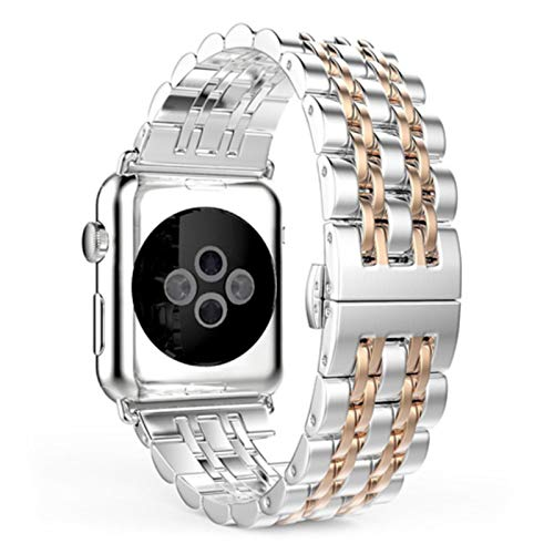Correa de pulsera de eslabones para Apple Watch Band 44mm 40mm 42mm 38mm 5/4/3/2/1 para Iwatch pulsera Metal mariposa hebilla correa de reloj + caja + herramienta