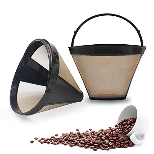 2 Pezzi Filtro per Macchina da Caffè, Filtro Permanente per Caffè in Acciaio Inox, Bordo PP Riutilizzabile Filtro Caffè Americano