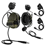 TAC-Sky COMTA III Dual Comm Headset,Tactical Helmet Mount Version Ear Defender,Sound Amplification for Airsoft Activities (Army Green)