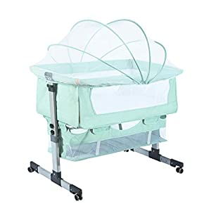 Bedside Sleeper Bedside Crib, Baby Bassinet 3 in 1 Travel Baby Crib Baby Bed with Breathable Net, Adjustable Portable Bed for Infant/Baby with Detachable Mosquito net and Mattress,Green