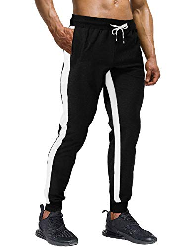 Wohthops Mens Track Pants with Stripes on The Side Men Loose Fit Sweatpants for Men Big and Tall Black Pants with Pockets, 32