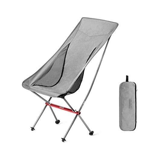 EQVUDJT Portátil Silla de Camping Ultraligero portátil Silla de Pesca Plegable al Aire Libre Aleación de Aluminio Playa Picnic Silla para Actividades al Aire Libre (Color : Grey)