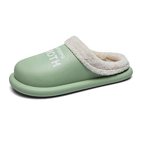 Gnohnay Pantuflas para Mujer y Hombres, Antideslizantes Mantener Calientes Zapatillas Suaves, Pantuflas de Piel sintética Mullido Adecuado para Uso en Interiores y Exteriores,Verde,39