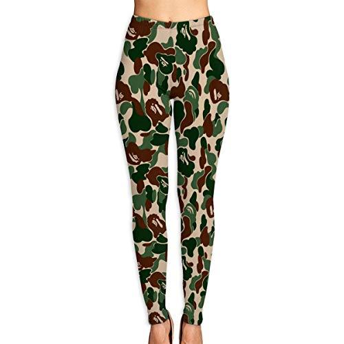 JJsister Damen Aniaml Camouflage Grün Bedruckte Leggings Yoga Workout Leggings in voller Länge Hose Soft Capri