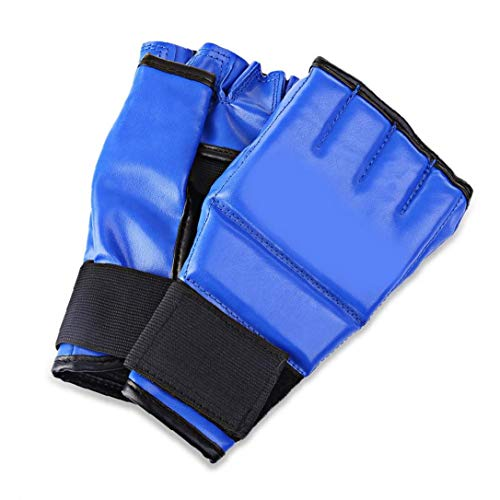 Half Finger Mitts Boxsack Sparring Boxen Hand Hülse für Cool MMA Muay Thai Training Gym Blau