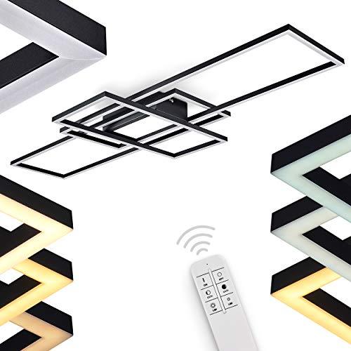 LED Deckenleuchte Alsterbro, dimmbare Deckenlampe aus Metall in Schwarz, 60 Watt, 6500 Lumen max, 3000-6500 Kelvin, moderne Leuchte, dimmbar über beiliegende Fernbedienung