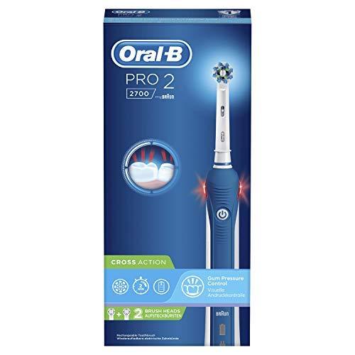 Oral-B Pro2 - 2700 - Brosse à Dents Électrique Rechargeable, 1Manche avec Capteur de Pression Visible, 2Brossettes