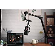 THRONMAX Zoom Adjustable Microphone Suspension Boom Scissor Arm Stand, Made of Durable Steel for Radio Broadcasting Studio, Voice-Over Sound Studio, Stages