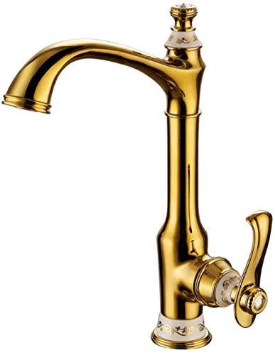 Grifo del lavabo del baño Grifo del fregadero de la cocina Caño giratorio construido en latón Grifo de la cocina de agua fría y caliente de cobre Grifo del lavabo antiguo de oro