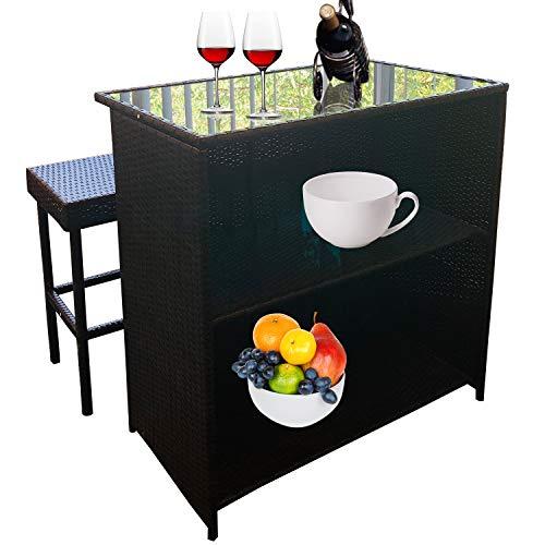 Chusstang 3PCS Rattan Bar Set Wicker Outdoor Indoor Table & 2 Stools Glass Top with 2 Storage Shelves, Terrace Patio Garden Backyard Furniture Waterproof