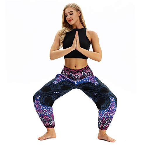 Fossen Pantalones Hippies Mujer Disfraz Primavera y Verano 2019 Suelto BohemiosTailandia Pantalone Elasticos con Estampado Floral Casual Pant para Estilo Informal,Yoga,Banquete