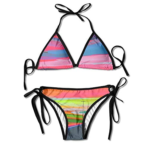 Sexy Triangle Bathing Two Pieces Fashion Women Abstract Highway Oil Painting Art Printing Sexy Two-Piece Bikini Set Beach Bathing Suit