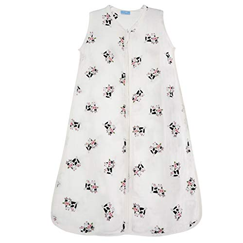 1st Laugh Saco de dormir para bebé de muselina 100% algodón, para niño y niña (vaca, M)