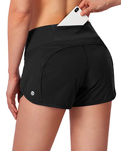 G Gradual Women's Running Shorts with Mesh Liner 3' Workout Athletic Shorts for Women with Phone Pockets (Black, Small)