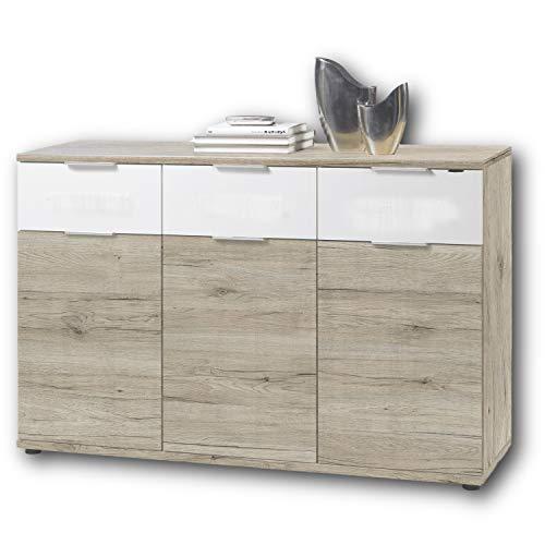 Stella Trading Universal Kommode in San Remo Eiche Optik, weiß - Schlichtes Sideboard mit viel Stauraum für Ihren Wohnbereich - 135 x 90 x 40 cm (B/H/T)