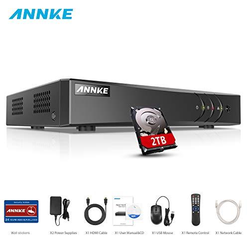ANNKE DVR 8 Kanal 4K HD 5in1 TVI/AHD/CVI/CVBS/IPC DVR Receiver Netzwerk Digital Video Recorder mit 2TB Festplatte für CCTV Überwachungskamera P2P HDMI VGA Ausgang,Smart Search