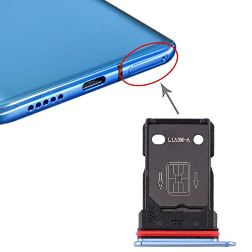 Compatibele Vervangings SIM-kaart lade + SIM-kaart lade for OnePlus 7T Accessory (Color : Blue)