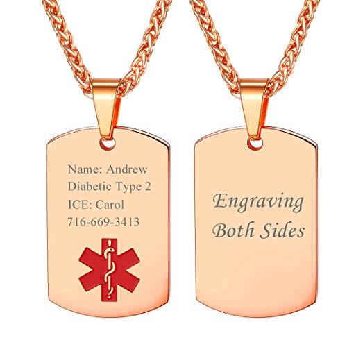 U7 Cruz Roja Chapa Medical Personalizable Collares Material Acero Inoxidable para Hombre Mujer Abuelos Joyería Rosada de Identidad para Enfermos