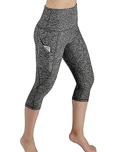 Davicher Leggins Mujer Push Up Pantalones Deporte Leggings de Elásticos Mallas Pantalones Deportivos 3/4 Leggings Mujer Yoga de Alta Cintura Pantalones Cortos con Bolsillo Pantalones de Yoga