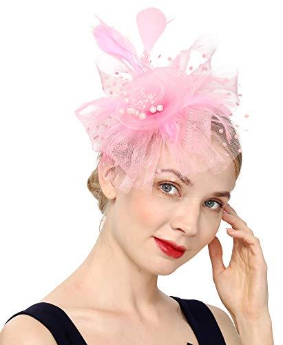 Fascinators Hat for Women Tea Party Headband Kentucky Derby Wedding Flower Cocktail Mesh Feathers Hair Clip(1-Pink)