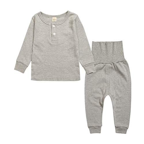 Morbuy Conjuntos Ropa Bebé, 2 Piezas Niños Niña Manga Larga Monos Mameluco Ropa Recien Nacido Tops Pantalones Navidad Halloween Pijama Trajes (100, Gris)