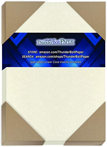 """125 White Parchment 65lb Cover Weight Paper - 5"""" X 7"""" (5X7 Inches) Photo
