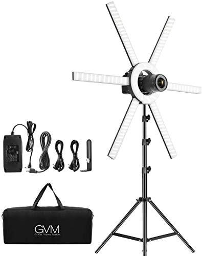 GVM - Luz de vídeo LED con trípode, iluminación de vídeo LED para YouTube, luz de cámara LED para estudio de fotografía, iluminación de fotografía, anillo LED selfie, lámpara de vídeo LED