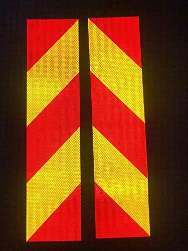 Reflektierende Klebeband, Reflektor Sicherheitswarnband, Sicherheitszeichen für Nachtaktivität (Rot-Gelb Klebeset 135mm×565mm)