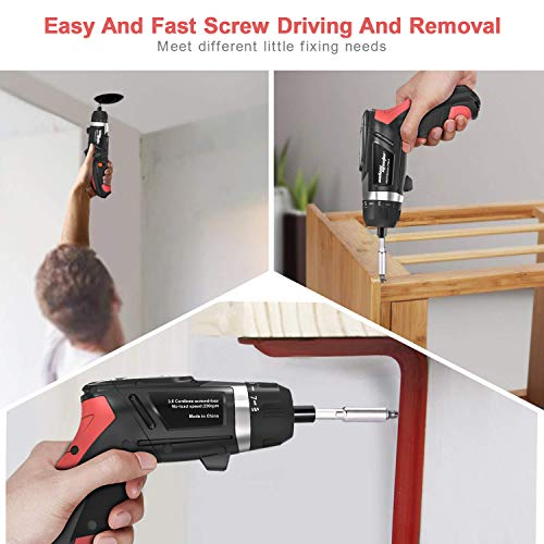 SALEM MASTER Cordless Screwdriver Electric Rechargeable Screwdriver 4.8V Lithium Ion Power Screw Guns with Battery Indicator for Household, Newbies and Experienced (Mid)