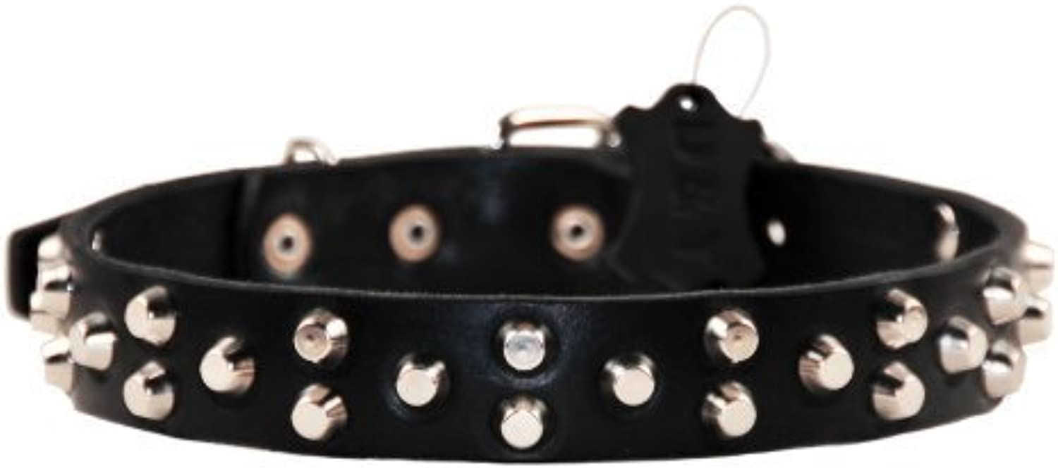 Dean and Tyler EGYPTIAN GEMInch, Dog Collar with Conical Pyramid and Nickel Hardware, Black, Size 41cm by 3cm, Fits Neck 36cm to 46cm