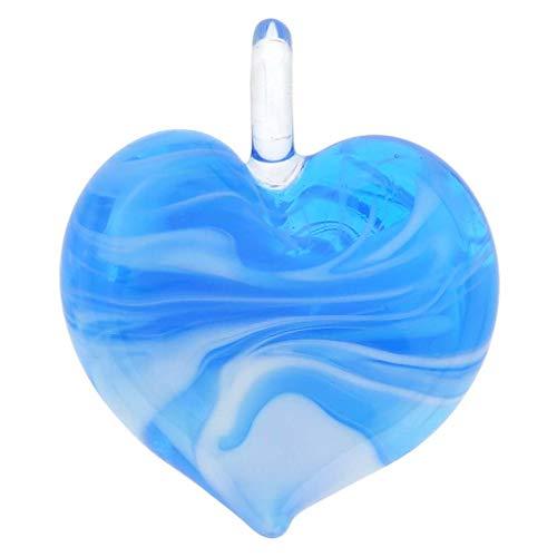 GlassOfVenice Murano Glass Venetian Marble Heart Pendant - Aquamarine