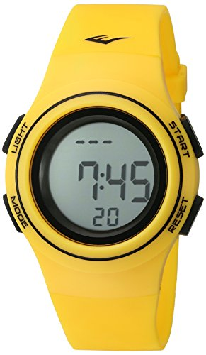 Everlast 'Heart Rate Monitor' Automatic Plastic and Rubber Fitness Watch, Color:Yellow (Model: EVWHR006YE)