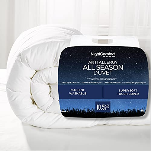 Night Comfort ? All Seasons Deluxe 10.5 Tog Duvet - Anti Allergy Hollowfibre All Year Round Use Duvet