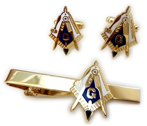 Working Tools Freemason cufflink and Tie Pin Set