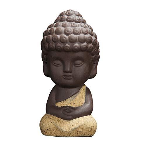 Snobbery Cute Small Buddha Statue Monk Figurine tathagata India Yoga Mandala Sculptures (Yellow)