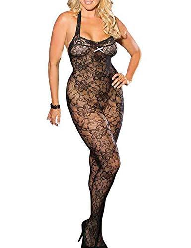 Vivilover Damen Dessous Curvy Lines Muster Plus Size Fischnetz Bodystocking schwarz -  Schwarz -  X-Groß