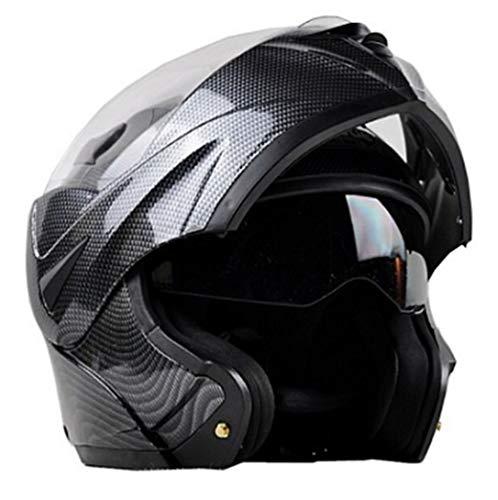 Casco de motocicleta con lunares, casco de motocicleta con doble lente y lente abatible, casco de motocross, casco de cara completa para hombres y mujeres (color: lente transparente-M)