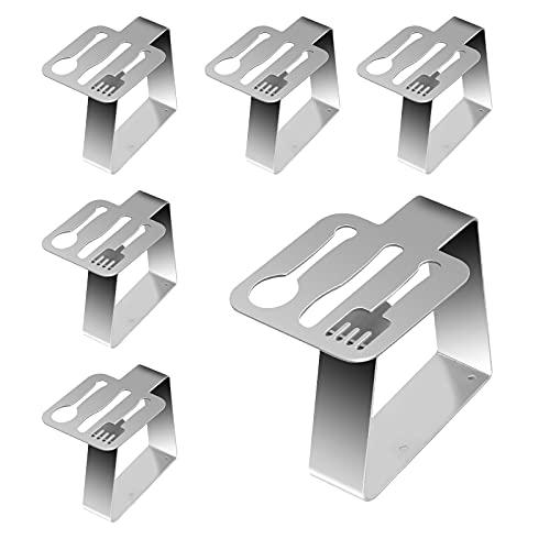 LAMEK 6 Piezas Clip de Mantel de Acero Inoxidable, Mesa Sujeta Manteles Elásticas, Pinzas Mantel Exterior, Soportes...