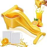 Manual Fruit Juicer, Lemon Squeezer Hand Juicer, Portable Fruit Citrus Press Juicer Detachable Lime Squeezer Hand Press Manual Fruit Juicer (Yellow)