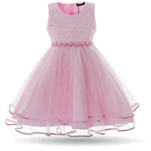 CIELARKO Mädchen Kleid Blumen Perlen Festlich Hochzeits Blumenmädchen Kleider, Rosa, 4-5 Jahre