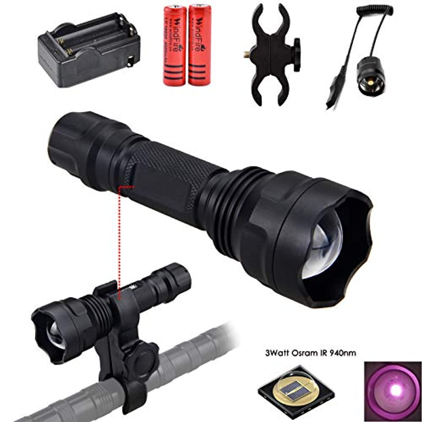 WINDFIRE IR Illuminator Flashlight 940nm Infrared Light Night Vision Flashlight Torch Adjustable Focus LED Flashlight with Batteries, Charger, Scope Mount, Remote Pressure Switch for Night Hunting