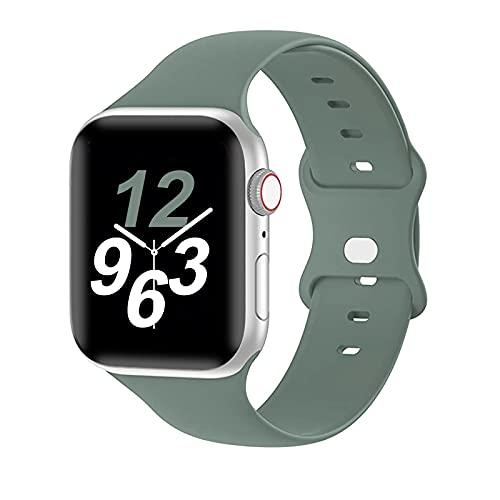 Correa de Silicona Compatible con Apple Watch 44 mm 42 mm 40 mm 38 mm, Muñequeras Deportivas de Silicona Suave Correa de Repuesto para iWatch SE Series 6/5/4/3/2/1