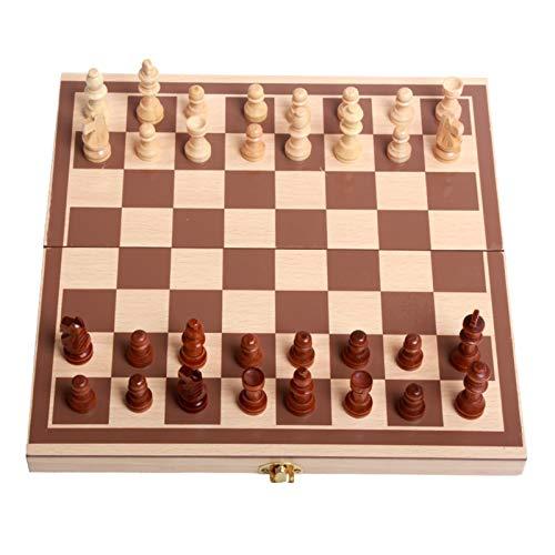 RHGEIUCY Rangeiucie Schach-hölzerner Set zusammenklappbarer Schachbrett Anfänger Erwachsene Schach Nicht leicht zu gleiten, stark und langlebig